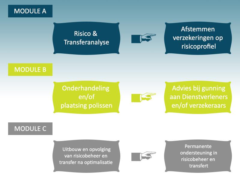 Module A: Risico and transferanalyse - afstemmen verzekeringen op risicoprofiel. Module B: Onderhandeling en/ of plaatsing polissen - advies bij gunning aan Dienstverleners en/of verzekeraars. Module C: Uitbouw en opvolging van risicobeheer en transfer na optimalisatie - permanente ondersteuning in risicobeheer en transfert.